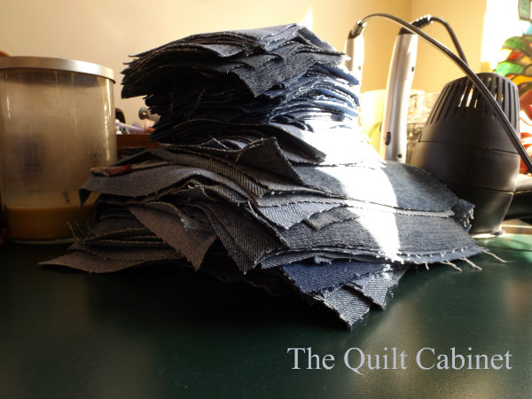 Pile of cut jeans The Quilt Cabinet